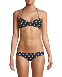 Caroline Constas Kali Polka-dot Halter Bikini Top - Black