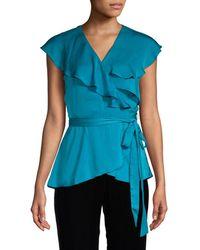 Ava & Aiden Flutter-sleeve Wrap Top - Blue