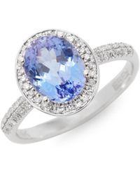 Effy - 14k White Gold Tanzanite & Diamond Oval Ring - Lyst