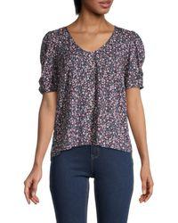 Velvet Dawn Floral Puff-sleeve Top - Multicolour