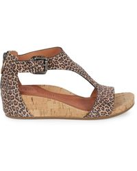 Gentle Souls Women's Gisele Leopard-print Suede Wedge Sandals - Fossil - Size 7 - Brown