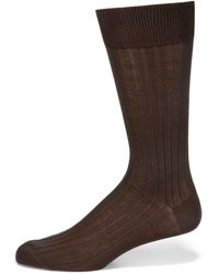 Saks Fifth Avenue - Ribbed Cotton Dress Socks - Lyst