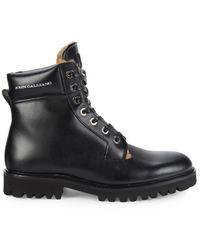 John Galliano Leather & Faux Fur Hiker Boots - Black