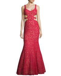 La Femme - Printed V-neck Mermaid Dress - Lyst
