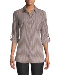 Ellen Tracy - Printed Roll-sleeve Button-down Shirt - Lyst