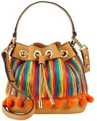 MILLY - Pom-pom Leather Shoulder Bag - Lyst