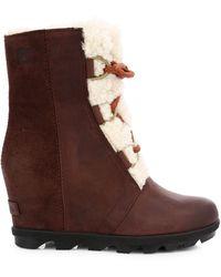 Sorel Joan Wedge Ii Shearling-lined Leather Waterproof Boots - Brown