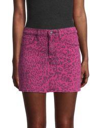Hudson Jeans Leopard-print Denim Mini Skirt - Pink