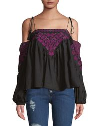ef25a5a3479f4 Lyst - Free People Vacay Vibin  Cold Shoulder Top in Black