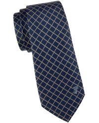 Versace Diamond Check Textured Silk Tie - Blue