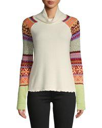 Free People Prism Intarsia Cowl Turtleneck Sweater - White