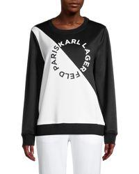 Karl Lagerfeld Logo Colorblock Sweatshirt - Black