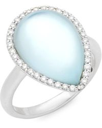 Roberto Coin - Blue Topaz, Diamond And 18k Gold Ring - Lyst