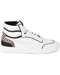 PUMA Women's Ralph Sampson Faux Fur-trim Mid Top Sneakers - White - Size 5.5