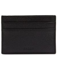 Bally Textured Leather Card Case - Black