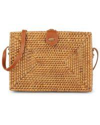 Collection 18 Rectangle Rattan Crossbody Bag - Brown