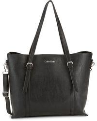 Calvin Klein Textured Logo Tote - Black