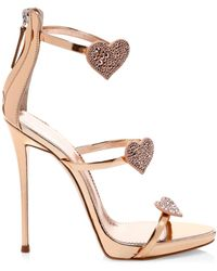 Giuseppe Zanotti Swarovski Crystal & Leather Stiletto Heart Sandals - Metallic