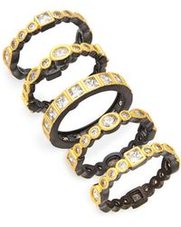 Freida Rothman - Set Of Five Crystal, Sterling Silver And 14k Yellow Gold Band Rings - Lyst