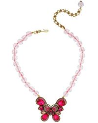 Heidi Daus Crystal & Glass Beaded Butterfly Pendant Necklace - Metallic
