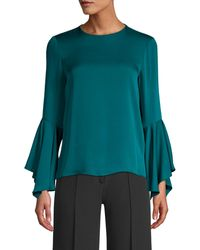 MILLY Holly Silk-blend Bell-sleeve Blouse - Blue