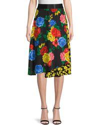 Alice + Olivia Mixed-print Silk Skirt - Yellow