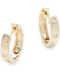 Saks Fifth Avenue 14k Yellow Gold & Diamond Huggie Hoop Earrings - Metallic