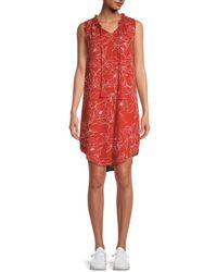 Bobeau Women's Tassel-tie Floral Dress - Red - Size S