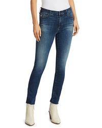 AG Jeans Mari High-rise Slim-fit Straight-leg Raw Hem Jeans - Blue