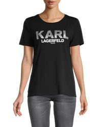 Karl Lagerfeld Logo Stretch-cotton Tee - Black