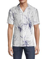 French Connection Men's Printed Short Sleeve Shirt - True Indigo - Size M - Blue