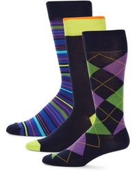 Saks Fifth Avenue 3-pack Argyle & Striped Crew Socks - Blue