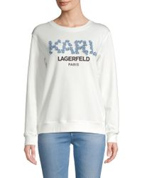 Karl Lagerfeld - Floral Wordmark Chambray Sweater - Lyst