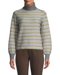 Vince Fair Isle Striped Turtleneck Jumper - Grey