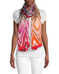 Missoni Silk Graphic Print Scarf - Pink