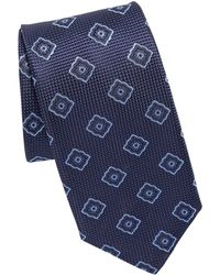 Canali Pattern Square Silk Tie - Purple