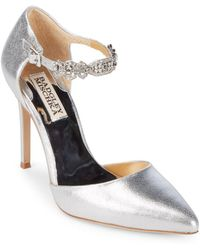 Badgley Mischka - Pia Ii Metallic Leather Evening Court Shoes - Lyst