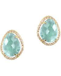 Meira T 14k Yellow Gold Amazonite & Diamond Stud Earrings - Multicolour