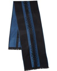 Versace Frayed Printed Scarf - Blue