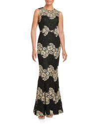 CALVIN KLEIN 205W39NYC - Two-tone Sleeveless Round Neck Lace Gown - Lyst