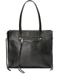 Rebecca Minkoff Regan Always On Side-zip Leather Tote - Black