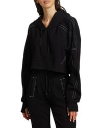 BLANC NOIR Yolo Topstitched Cropped Hoodie - White