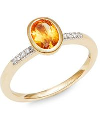 Effy - 14k Yellow Gold Diamonds & Citrine Ring - Lyst