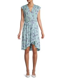 BCBGMAXAZRIA Women's Floral-print Asymmetrical Faux Wrap Dress - Harbor - Size M - Blue