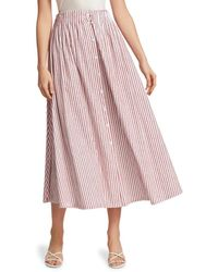 By Any Other Name Shirred A-line Tea Skirt - Pink