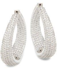 Adriana Orsini Rhodium-plated & Crystal Twist Hoop Earrings - Multicolour