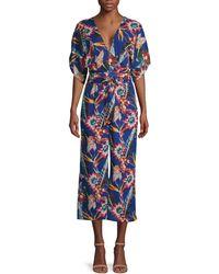 Red Carter Botanical-print Kimono-sleeve Jumpsuit - Blue