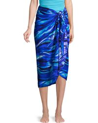 Miraclesuit Abstract-print Sarong Coverup - Blue