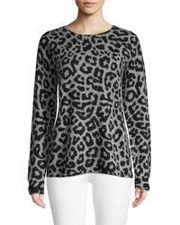 Saks Fifth Avenue Leopard Print Cashmere Jumper - Brown