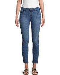 Karl Lagerfeld Released Side Stripe Cropped Jeans - Blue